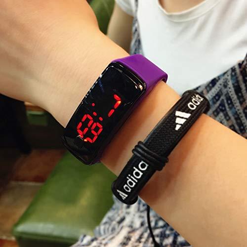 led Unique Electronic Timepiece Watch Bracelet Bangle Couple Lover Women Girls Men Man Touch Movement (# Purple Buy one get Second Generation led-