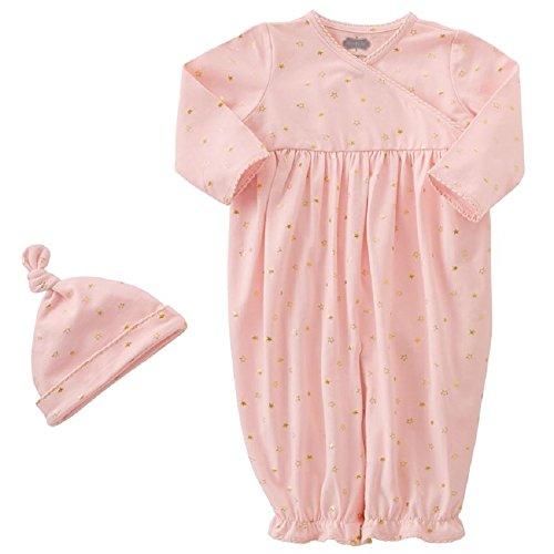 Set Convertible Gown (PINK & GOLD STAR CONVERTIBLE GOWN & CAP SET, 3-6 months)