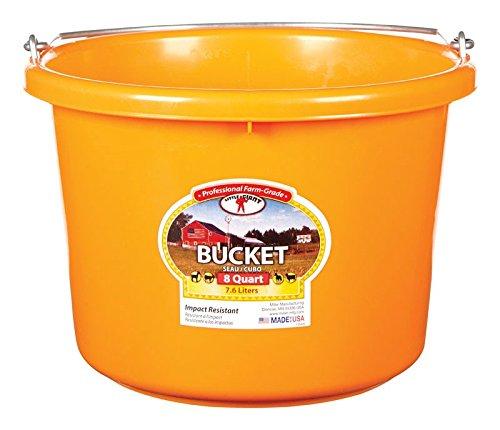 Miller CO P8ORANGE P8 Orange 8QT PL Plastic Bucket, 8 Quart,