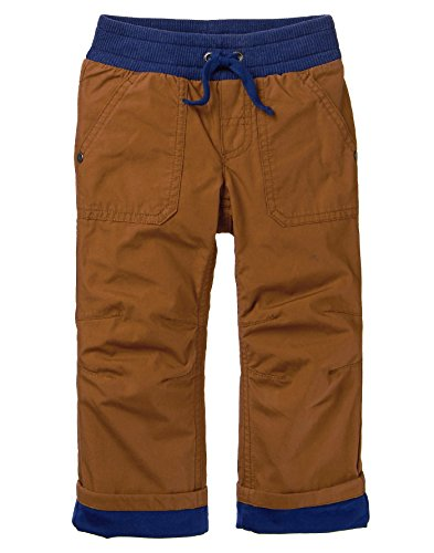 Crazy 8 Baby Boys Fleece Lined Pant, Tan/Navy, 6-12 (Baby Fleece Pant)