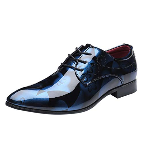 Sunyastor Men's Business Shoes Fashion Pointed Toe Bright Lace Up Leather Oxford Dress Shoes Formal Wedding Shoes Blue (Best Price On Rockport Shoes)