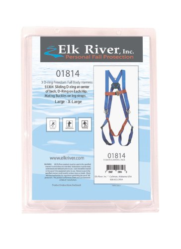 Elk River 01814 Freedom Polyester Three D-ring Harness Retail Clamshell Packaging with Mating Buckles, Fits Large to X-Large by Elk River