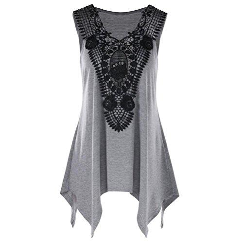 Trim Feather Tank (Nikuya Women Sleeveless Irregular T-Shirt V Neck Lace Trim Tank Top T-Shirt Sleeveless Irregular Casual Tank T-Shirt Cross Back Yoga Shirt Sleeveless (XXXXXL, Gray))