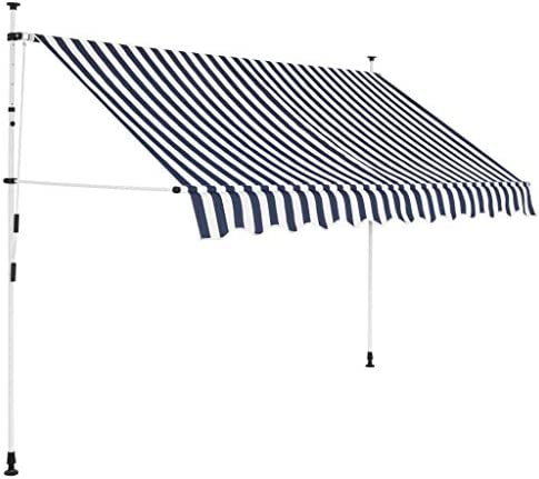vidaXL Manual Retractable Awning 118 Blue and White Stripes Shade Sun Shelter