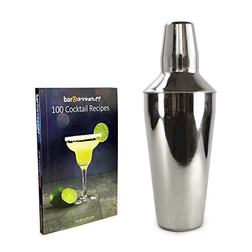 Tuff-luv Personalised Manhattan Stainless Steel Cocktail Shaker (750Ml) Plus Recipe Book