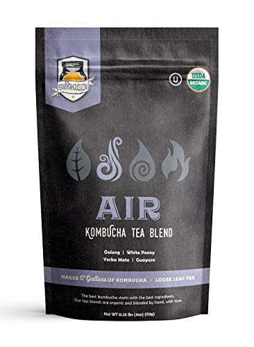 Air Kombucha Tea Blend - USDA Organic & Kosher - Loose Leaf - Makes 12 Gallons of Kombucha or 70 servings of tea - Formulated to balance and nourish your Kombucha SCOBY - Brew Your Own Kombucha