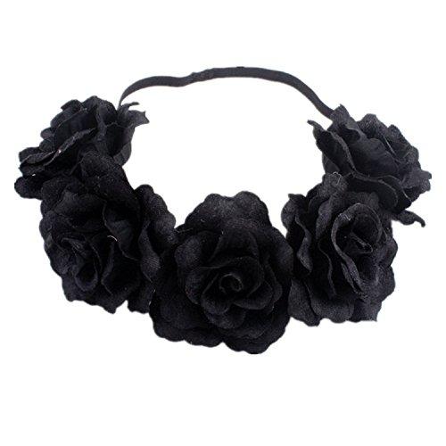 DreamLily Rose Flower Crown Wedding Festival Headband Hair Garland Wedding Headpiece (3-Black)