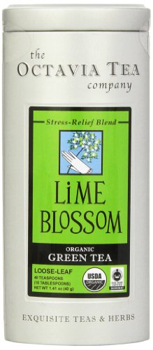 Octavia Tea Lime Blossom (Organic, Fair Trade Certified Green Tea) Loose Tea, 1.41 Ounce Tin -