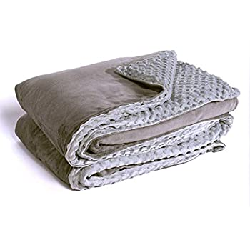 Image of Yogasleep Premium Weighted Blanket & Removable Minky Cover | 15 Lbs | 60? X 80? | for Individual 190 ? 240 Lbs | Premium Glass Beads | Charcoal/Light Grey Marpac B084HC42PH Weighted Blankets