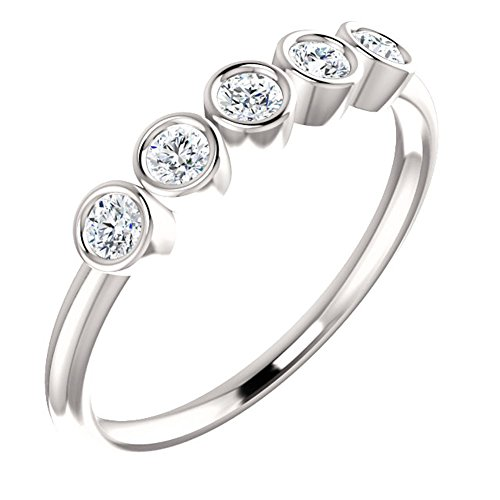 1.00 ct Ladies Round Cut Diamond Bazel Set Ring in 14 kt White Gold
