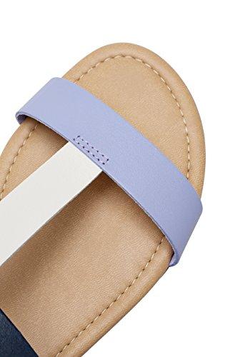 next Mujer Sandalias piel cómodas Corte Regular Azul Marino/Cambray