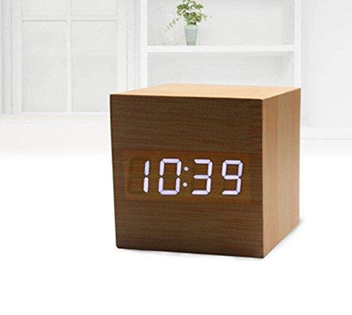 Calendar Cars - Retro Wooden Led Digital Alarm Clock Chargeable Voice Control Calendar Temperature Wood Cubic - Wall Daily Advent ()