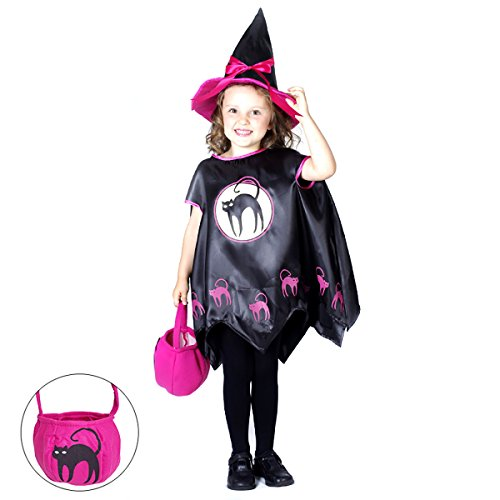 Halloween 3PC Cat Witch Costume for Girls Children Kids Cosplay Party (Halloween Costumes For 6 Year Olds)