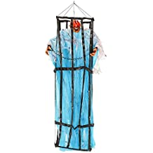 Halloween Haunters Hanging 7 Foot Prison Jail Cell Cage with Zombie Prisoner Flashing Eyes Prop Decoration - Spooky Life-Size Jail Breaking Devil Ghoul - Scary Bars, Chains - Haunted House Display