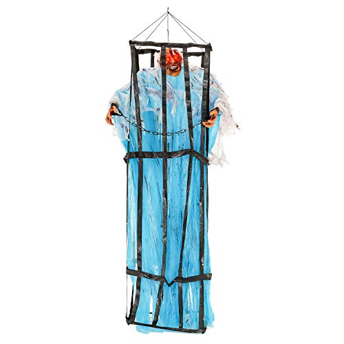 Halloween Haunters Hanging 7 Foot Prison Jail Cell Cage with Zombie Prisoner Flashing Eyes Prop Decoration - Spooky Life-Size Jail Breaking Devil Ghoul - Scary Bars, Chains - Haunted House Display -