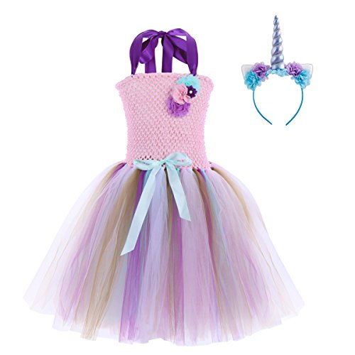 (Kids Girls Unicorn Rainbow Tutu Birthday Dress with Flower Headband Cosplay Costumes Party Outfit Fancy Dress up Clothes Purple+Blue Unicorn 7-8 Years)
