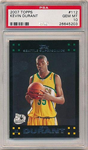 (BIGBOYD SPORTS CARDS Kevin Durant 2007/08 Topps #112 RC Rookie Card Sonics Warriors PSA 10 GEM Mint)