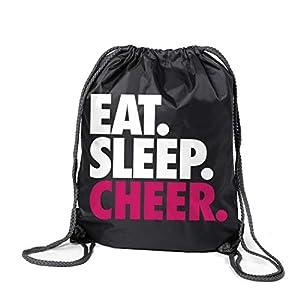 ChalkTalkSPORTS Cheerleading Sport Pack Cinch Sack   Eat Sleep Cheer   Black