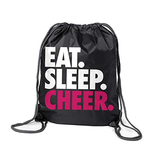 ChalkTalkSPORTS Cheerleading Sport Pack Cinch Sack | Eat Sleep Cheer | Black]()