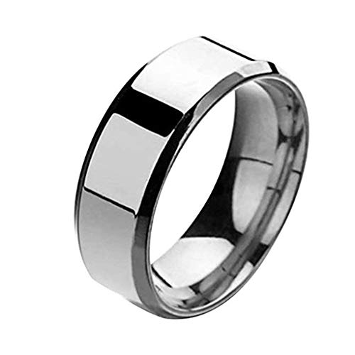 FEDULK Unisex Fashion Simple Rings Lovers Stainless Steel Mirror Finger Rings Jewelry Couple Gifts(8, Silver)