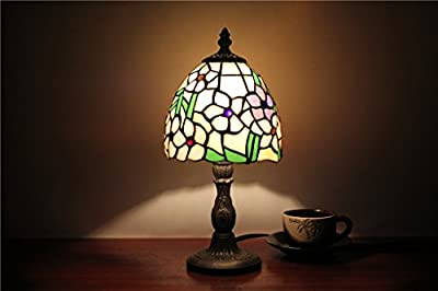 Royal-6 inch pink and purple small floral works of art, children's bedroom bedside night light Tiffany stained glass lamp