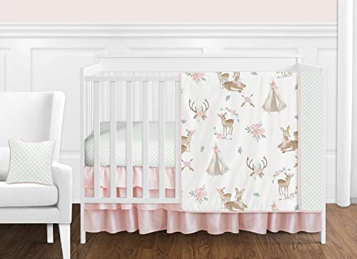 (Sweet Jojo Designs Blush Pink, Mint Green and White Boho Watercolor Woodland Deer Floral Baby Girl Crib Bedding Set Without Bumper - 11)