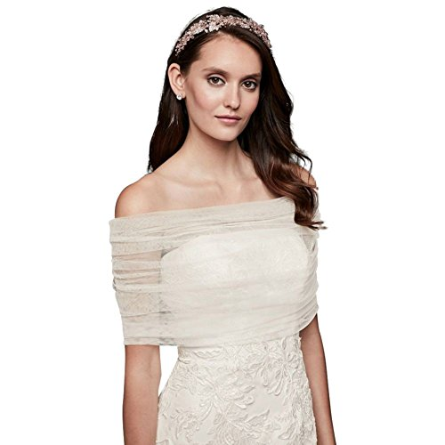Pleated Tulle Off-The-Shoulder Wrap Style OW2102, Ivory, S