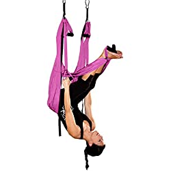 AGPtEK Deluxe Aerial Hammock Yoga Swing/ Inversion/Sling, Flying Antigravity - Pink