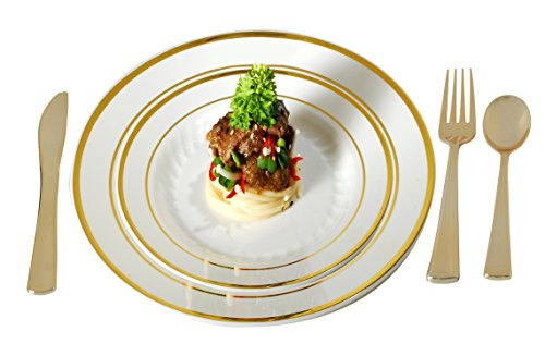 Plastic Plates Disposable-Silverware Combo | Elegant Gold Rimmed Dishes and Plastic Gold Cutlery Dinner Service | Service for 24 (129-piece Bulk Set) IVORY / GOLD
