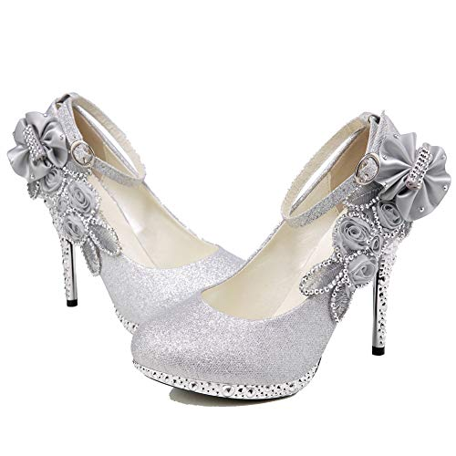 Sequins High Heel Platform - getmorebeauty Women's Glitter Silver Lace Flower Sequins Strappy Closed Toes Dress Wedding Shoes 10 B(M) US