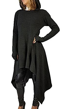 Felicity Young Womens Irregular Hem Double Slit Loose Long Sleeve ...
