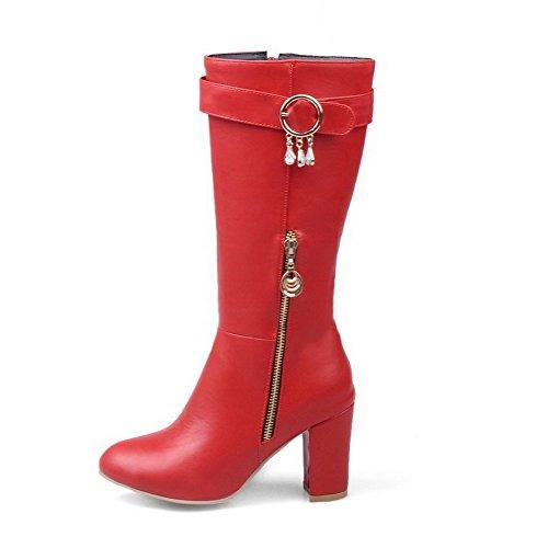 AgooLar Mujeres Caña Media Sólido Cremallera Tacón Ancho Botas con Colgantes, Rojo, 31