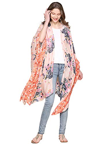 (Moss Rose Women's Beach Cover up Swimsuit Kimono Cardigan with Bohemian Floral Print (Color 64))