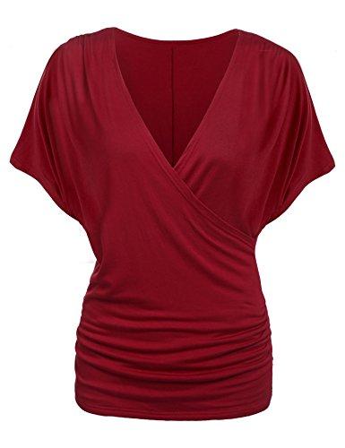 Teamyy Blusa de batwing camiseta de V cuello cruzado de las mujeres Rojo