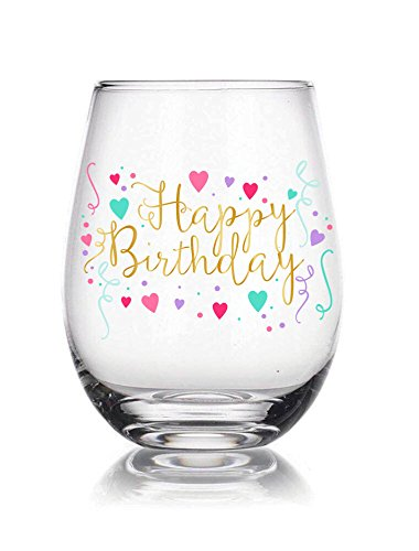 (Happy Birthday 22 oz Stemless Wine Glass, Multicolor Confetti, Perfect Birthday Gift, Anniversary Gift, Adult Ceremony Gift ...)