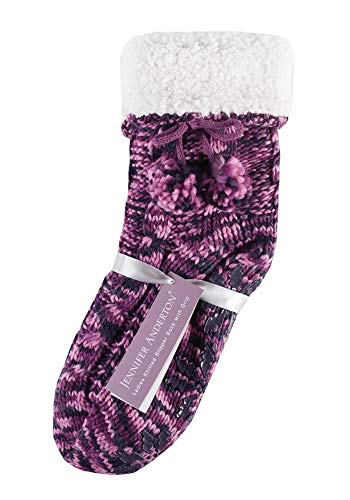 Pour Multicoloured Anderton Bootie Cable Pom Pink Multicolore Knitted Jennifer Twin Chaussons With Pom Femme Raspberry Pack 8wPUndq1