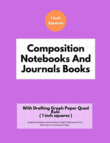 Composition Notebooks And Journals Books With Drafting Graph Paper Quad Rule ( 1 inch squares ): Graphing Notebook Journal Book College Ruled Square Grid Minimalist Art Numbered Pages Volume 91