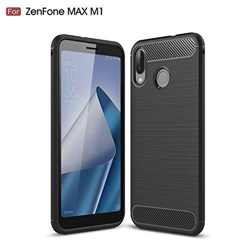 ベテランアッパー判定AVIDET Asus Zenfone Max M1 ZB555KL ケース 炭素繊維カバー 高品質TPU シリコン ケース 保護バンパー 弾力性付き (Zenfone Max ZB555KL ケース ブラック)