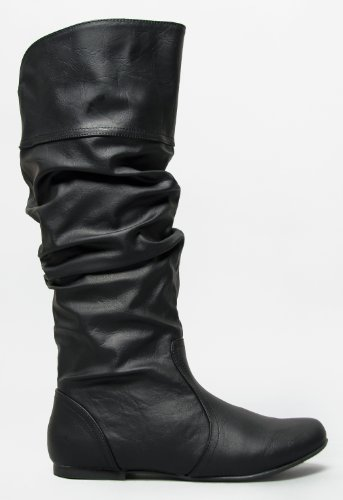 Delura KALEESI / Qupid NEO-144 Classic Basic Casual Slouchy Flat Knee High Boot