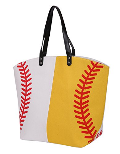 E-FirstFeeling Large Baseball Softball Tote Bag Sports Prints Utility Tote Travel Bag (Half - Baseball Softball Bags