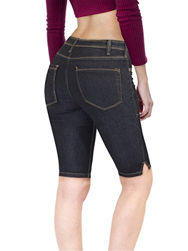 HyBrid & Company Women's Stretchy Denim Bermuda Short B22880X Indigo ()