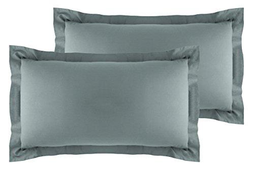 La Vie Moderne Premium 400 Thread Count Pure Cotton Pillow Shams | Set of 2 | Queen/Gray