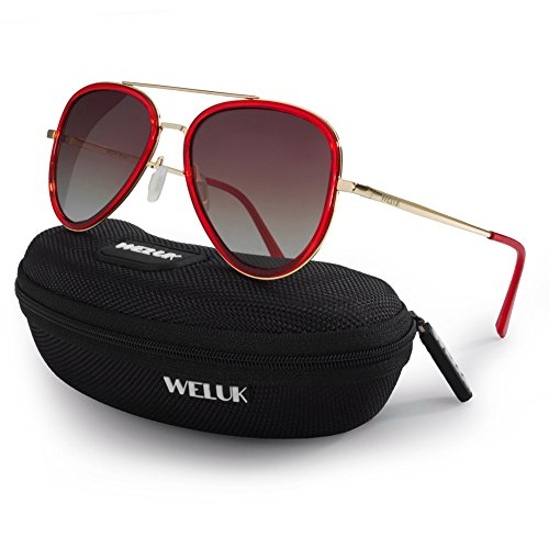 WELUK Polarized Aviator Sunglasses 60mm Large Frame Mens Womens Gradient UV400 Lens (Red, - Thick Rim Aviators