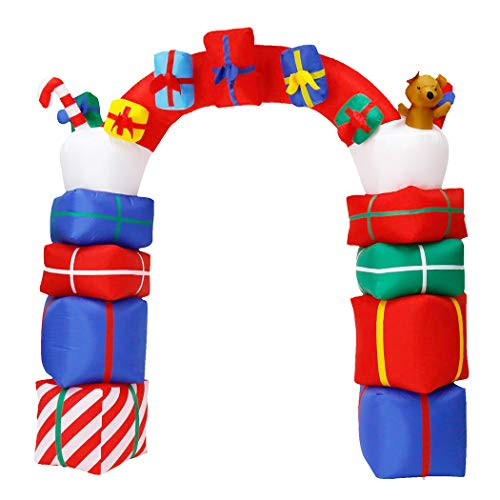 Christmas Inflatable Archway 8Ft/240cm Xmas Led Archway Airblow Arch for Yards Outdoor Decoration (Way Arch Decorations)