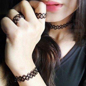 BAOZIV587 Rock falso tatuaje tejido a mano collar corto anillo ...
