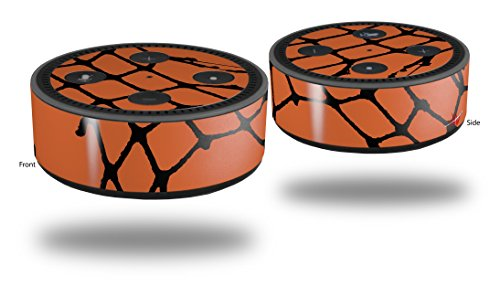 Skin Wrap Decal Set 2 Pack for Amazon Echo Dot 2 - Ripped Fishnets Orange (2nd Generation ONLY - Echo NOT INCLUDED) ()
