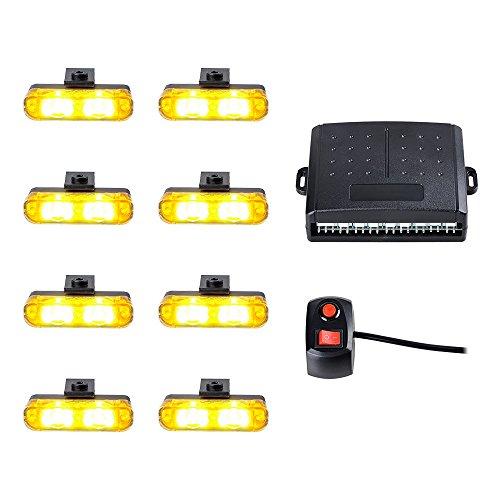 8pcs Amber Yellow 2nd Generation 2-LED Emergency Warning Hazard Security Construction Flashing Strobe Lights Bar Grille Light Kit