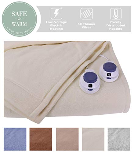SoftHeat by Perfect Fit | Luxury Micro-Fleece Low-Voltage Electric Heated Blanket (King, Natural)