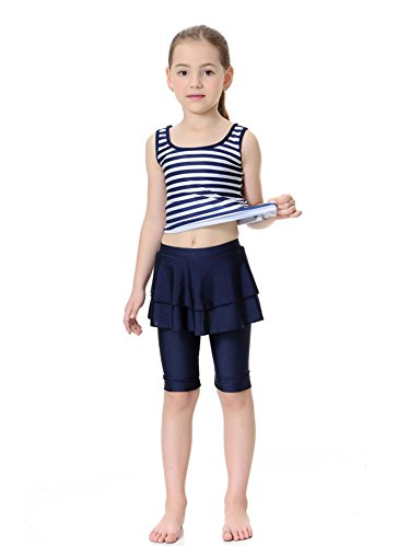 Kid's Sleeveless Swimsuit Muslim Islamic Two Piece Modest Swimwear (Asia M, navy ()