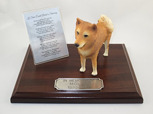 Beautiful Walnut Finished Personalized Memorial Plaque With Finnish Spitz Figurine